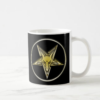 Inverted Pentagram with Golden Goat Head Classic White Coffee Mug