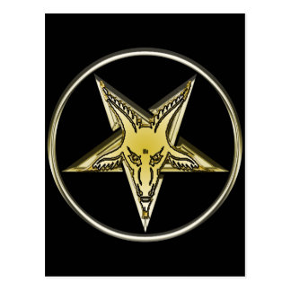 Inverted Pentagram with Golden Goat Head Postcard