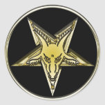 Inverted Pentagram with Golden Goat Head Round Stickers