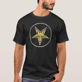 Inverted Pentagram with Golden Goat Head T-Shirt