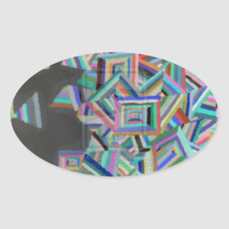 Inverted Pieces Oval Sticker