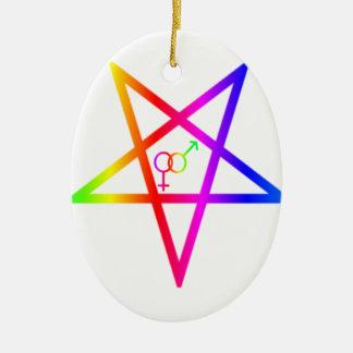 Inverted Rainbow Heterosexual Pentagram #2 Ornament