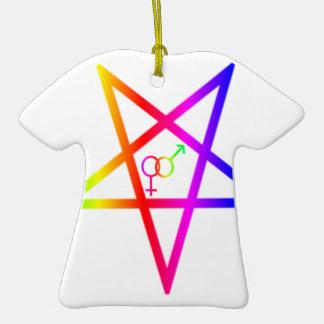 Inverted Rainbow Heterosexual Pentagram #2 Ornaments