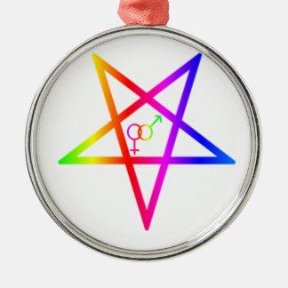 Inverted Rainbow Heterosexual Pentagram #2 Christmas Ornaments