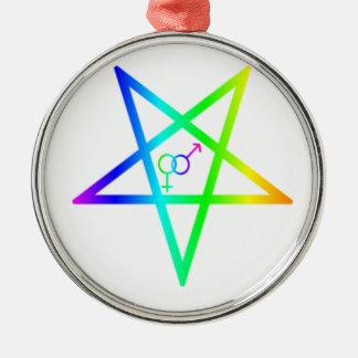 Inverted Rainbow heterosexual Pentagram Christmas Tree Ornament