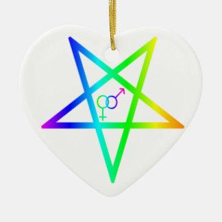 Inverted Rainbow heterosexual Pentagram Christmas Ornament