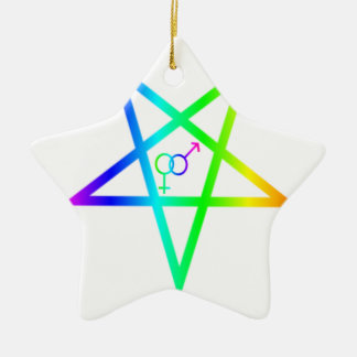 Inverted Rainbow heterosexual Pentagram Christmas Tree Ornaments
