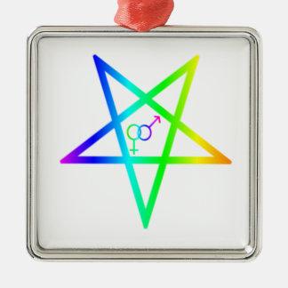 Inverted Rainbow heterosexual Pentagram Ornaments