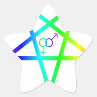 Inverted Rainbow heterosexual Pentagram Stickers