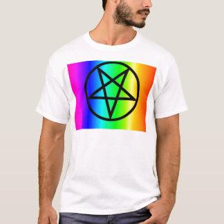 Inverted rainbow pentagram 2 gear T-Shirt