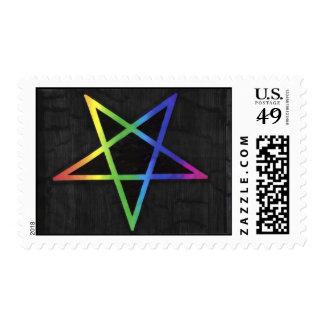 Inverted rainbow pentagram stamp