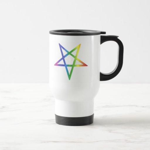 Inverted rainbow pentagram traveler mug