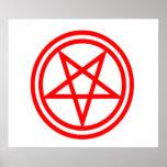 Inverted Red Pentagram Poster