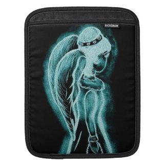 Inverted Sideways Angel in Aqua iPad Sleeve