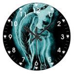 Inverted Sideways Angel in Aqua Wall Clocks