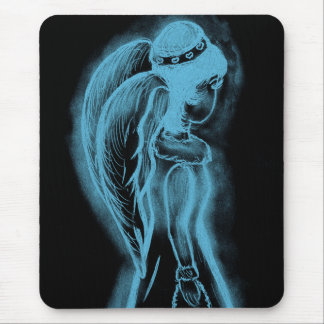 Inverted Sideways Angel in Black and Light Blue Mouse Pad