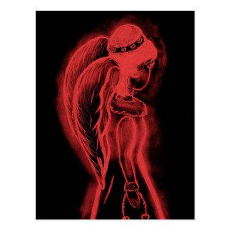 Inverted Sideways Angel in Black and Red Postcard