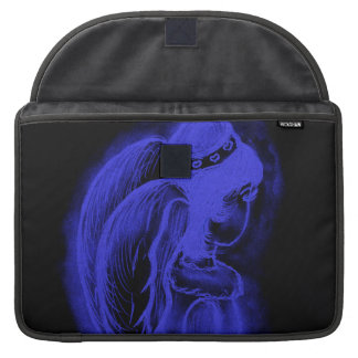 Inverted Sideways Angel in Black and Royal Blue MacBook Pro Sleeve
