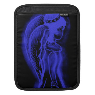 Inverted Sideways Angel in Black and Royal Blue Sleeve For iPads
