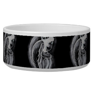 Inverted Sideways Angel in Black and White Bowl