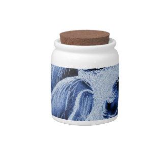 Inverted Sideways Angel in Blue Candy Jars