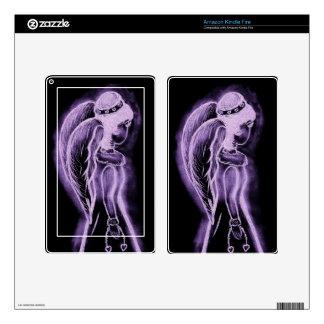 Inverted sideways angel in purple kindle fire decal