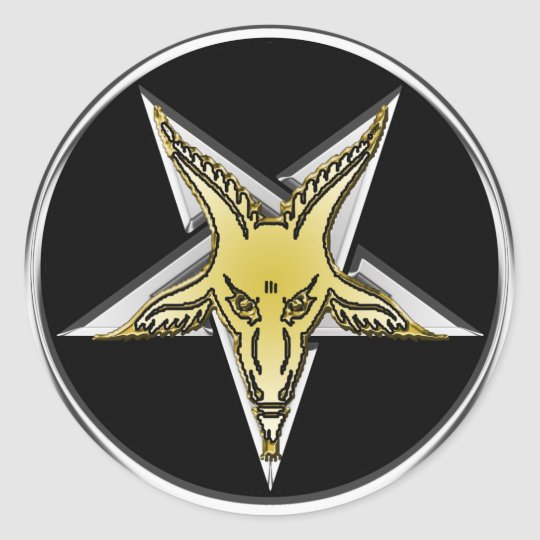 Inverted Silver Pentagram with Golden Goat head Classic Round Sticker