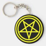 Inverted Yellow Pentagram on Black Key Chains