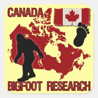 Investigación de Canadá Bigfoot Calcomanías Cuadradass Personalizadas