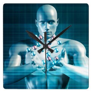 Investigación de la ciencia como concepto de la reloj cuadrado