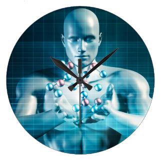Investigación de la ciencia como concepto de la reloj redondo grande