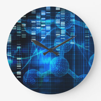 Investigación de la ciencia genética como arte reloj redondo grande
