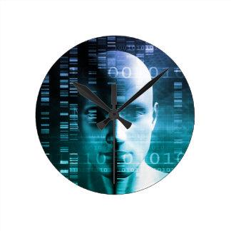 Investigación médica en genética y ciencia de la reloj redondo mediano