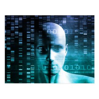 Investigación médica en genética y ciencia de la tarjeta postal