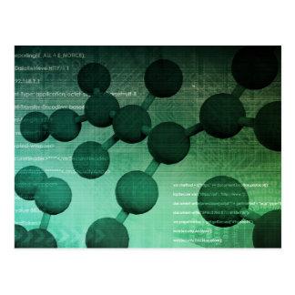 Investigación médica y tecnología corporativa como postal