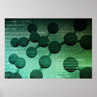 Investigación médica y tecnología corporativa como póster