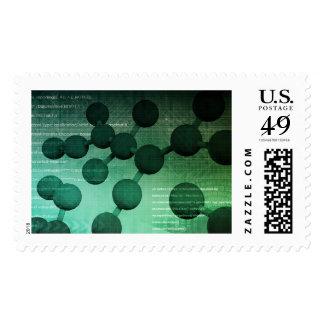 Investigación médica y tecnología corporativa como sellos postales