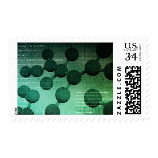 Investigación médica y tecnología corporativa como timbre postal