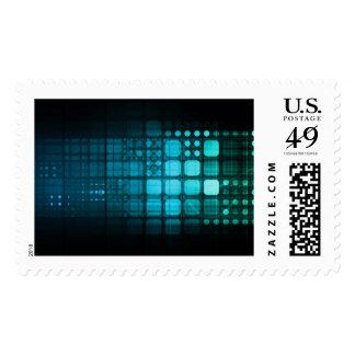 Investigación médica y tecnología corporativa sello postal