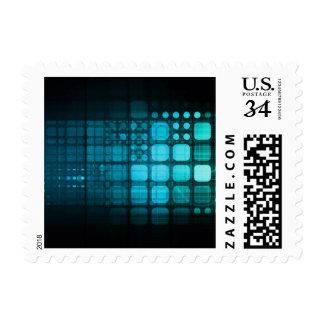 Investigación médica y tecnología corporativa timbre postal