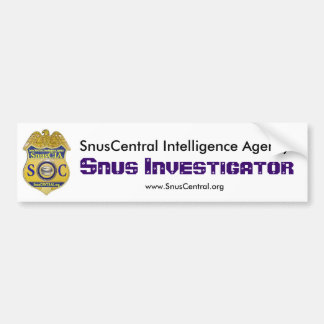 Investigador de Snus Pegatina Para Auto