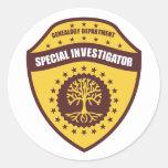 Investigador especial pegatina redonda
