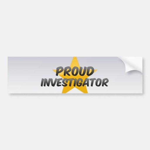 Investigador orgulloso etiqueta de parachoque