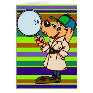 Investigador privado del perro del dibujo animado tarjeta de felicitación