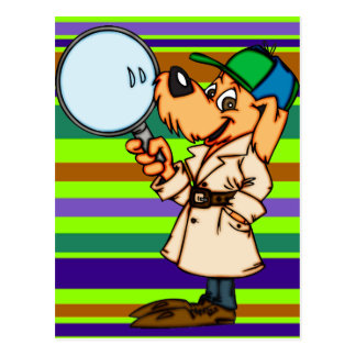Investigador privado del perro del dibujo animado postal