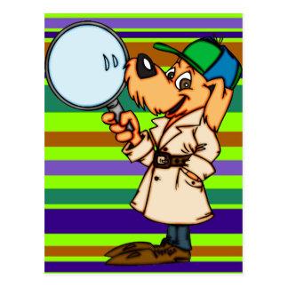 Investigador privado del perro del dibujo animado tarjetas postales