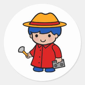 Investigator Boy Classic Round Sticker