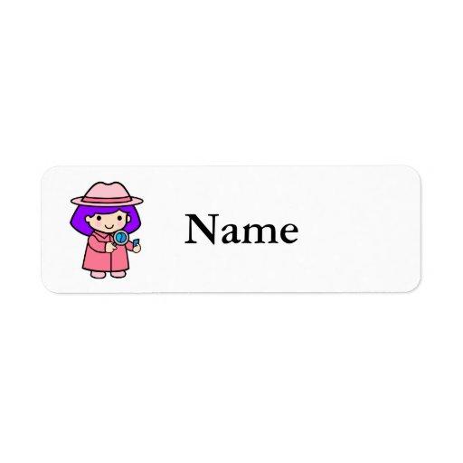 Investigator girl 2 custom return address labels
