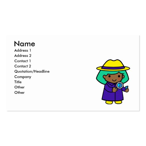 Investigator girl business card