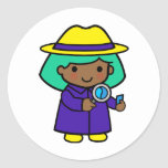 Investigator girl round sticker